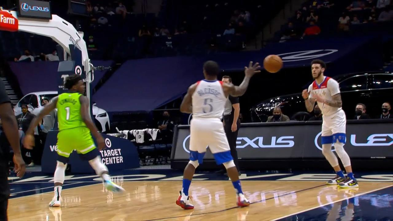 Eric Bledsoe hits Lonzo Ball for corner three | Pelicans-Timberwolves Highlights