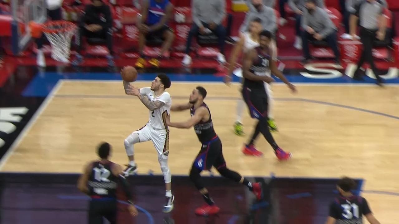 Lonzo Ball finishes off the Willy Hernangómez dime | Pelicans-76ers Highlights