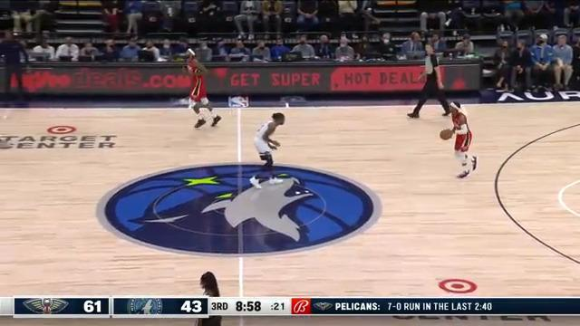 Brandon Ingram hits an open three off the feed by Devonte' Graham | Pelicans at Timberwolves 10-25-21