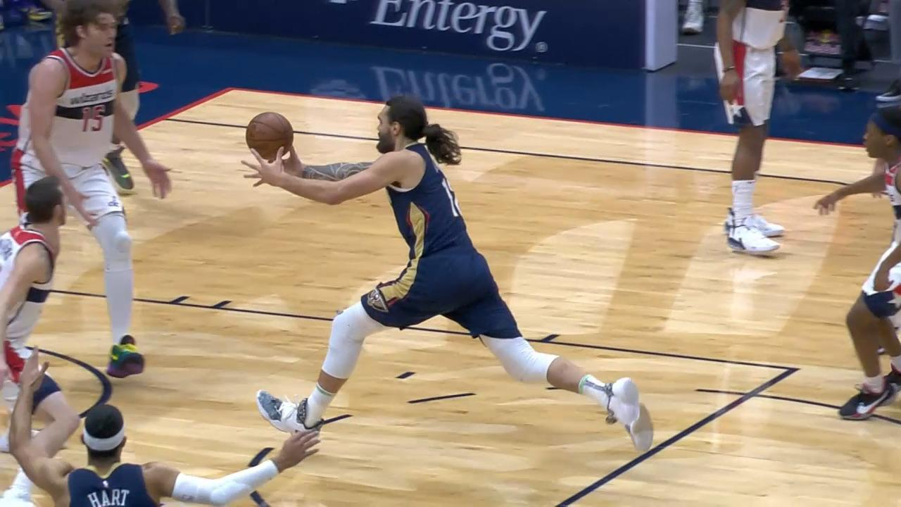 Steven Adams no-look to Zion for the dunk | Pelicans-Wizards Highlights
