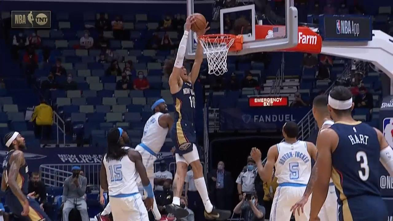 Jaxson Hayes baseline jam and-1 | Pelicans-Lakers Highlights