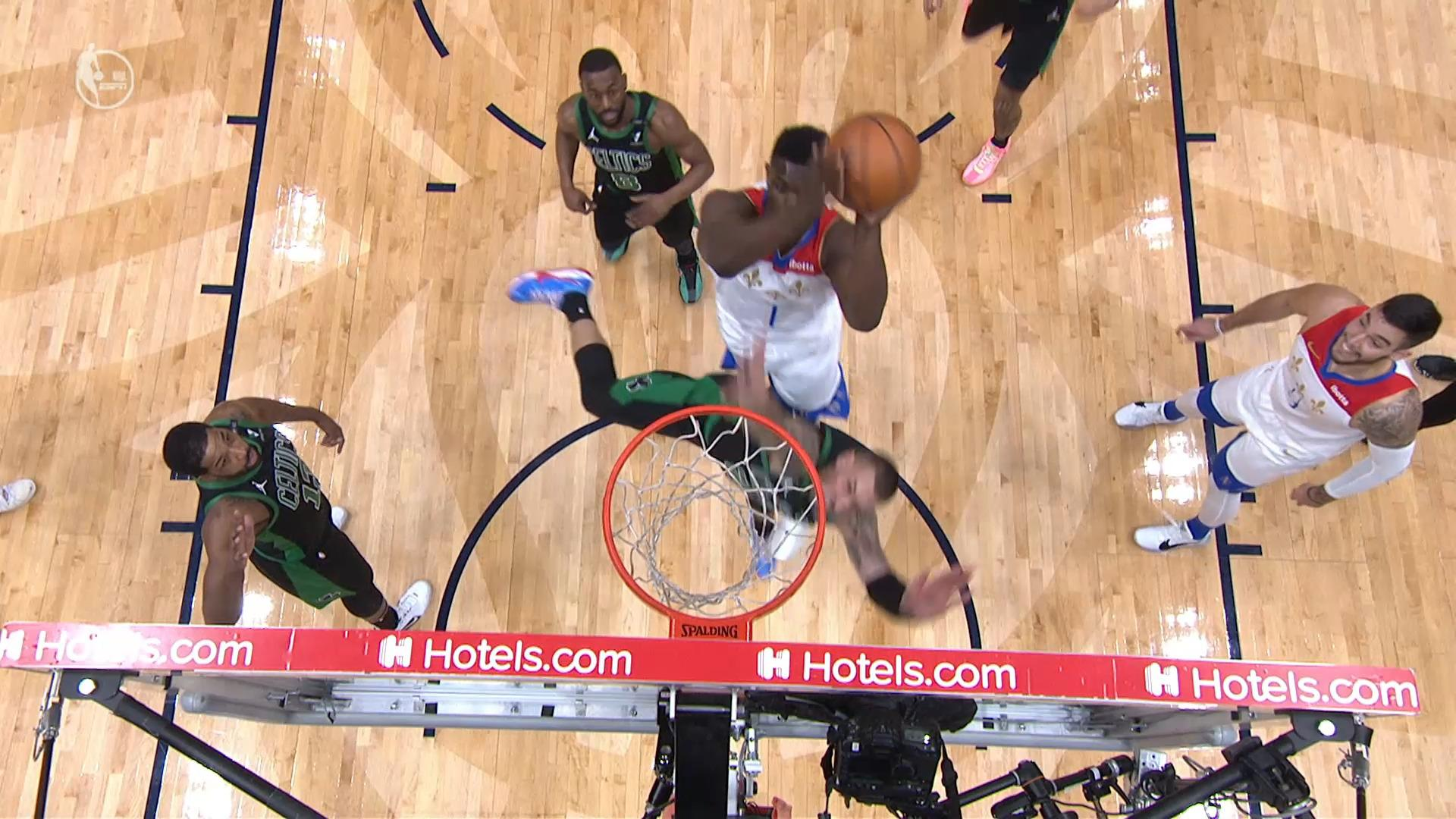Zion Williamson explodes to rim and-1   Pelicans-Celtics Highlights