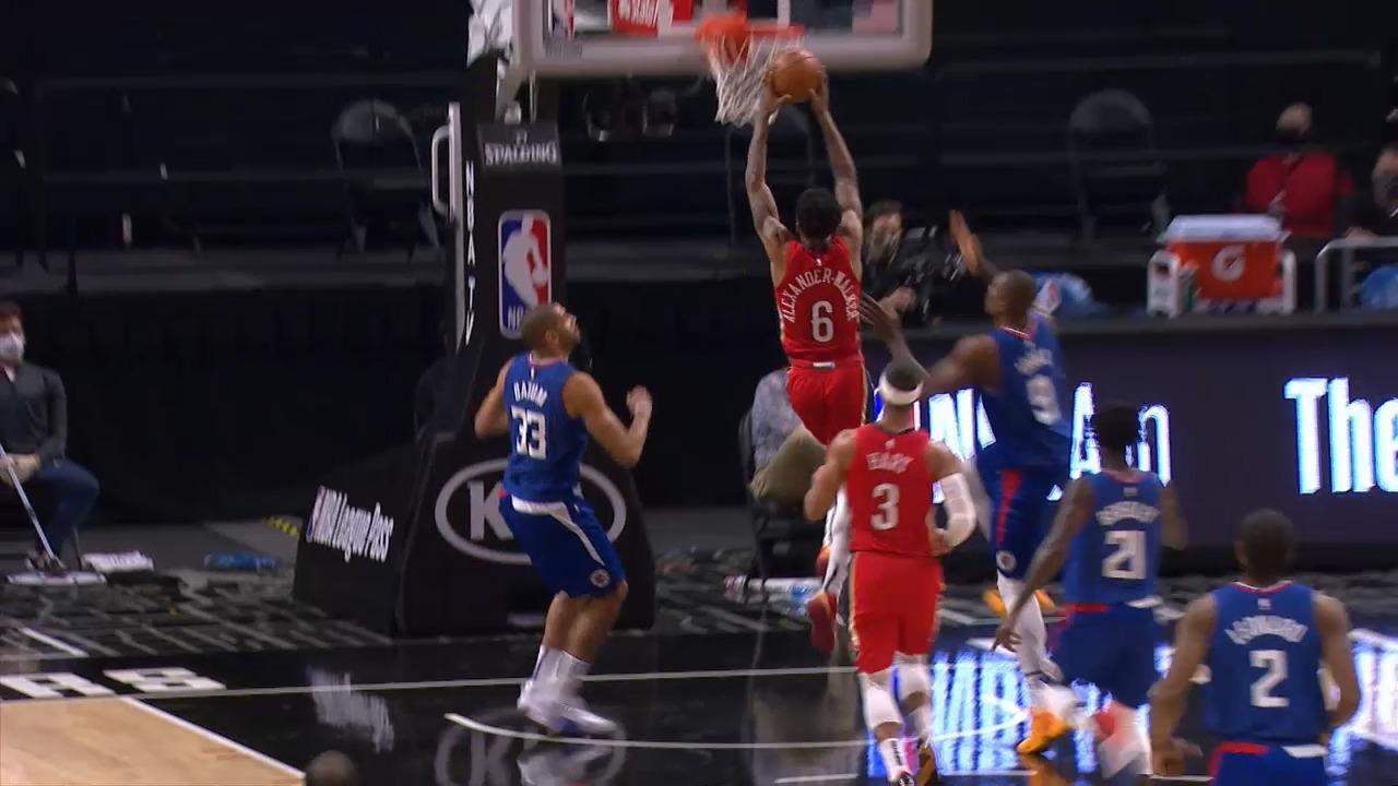 Pelicans-Clippers Highlights: Nickeil slams it home in transition (1/13/21)