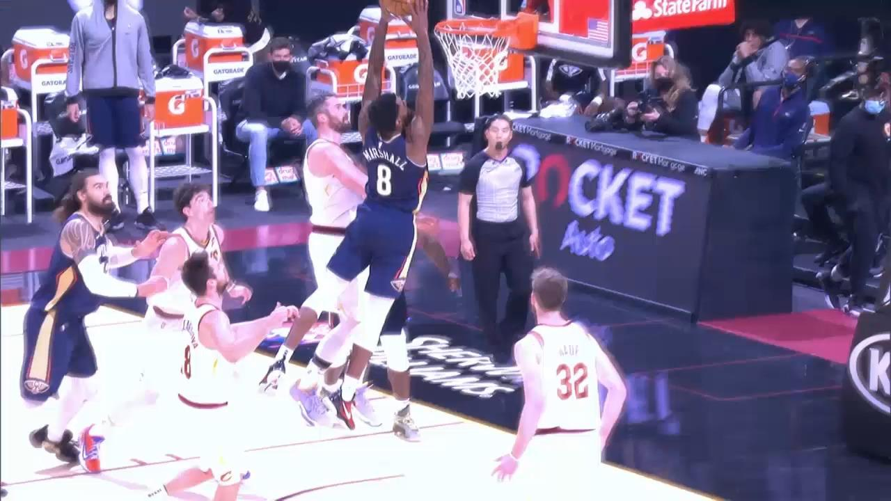 Naji Marshall strong drive and slam   Pelicans-Cavaliers Highlights