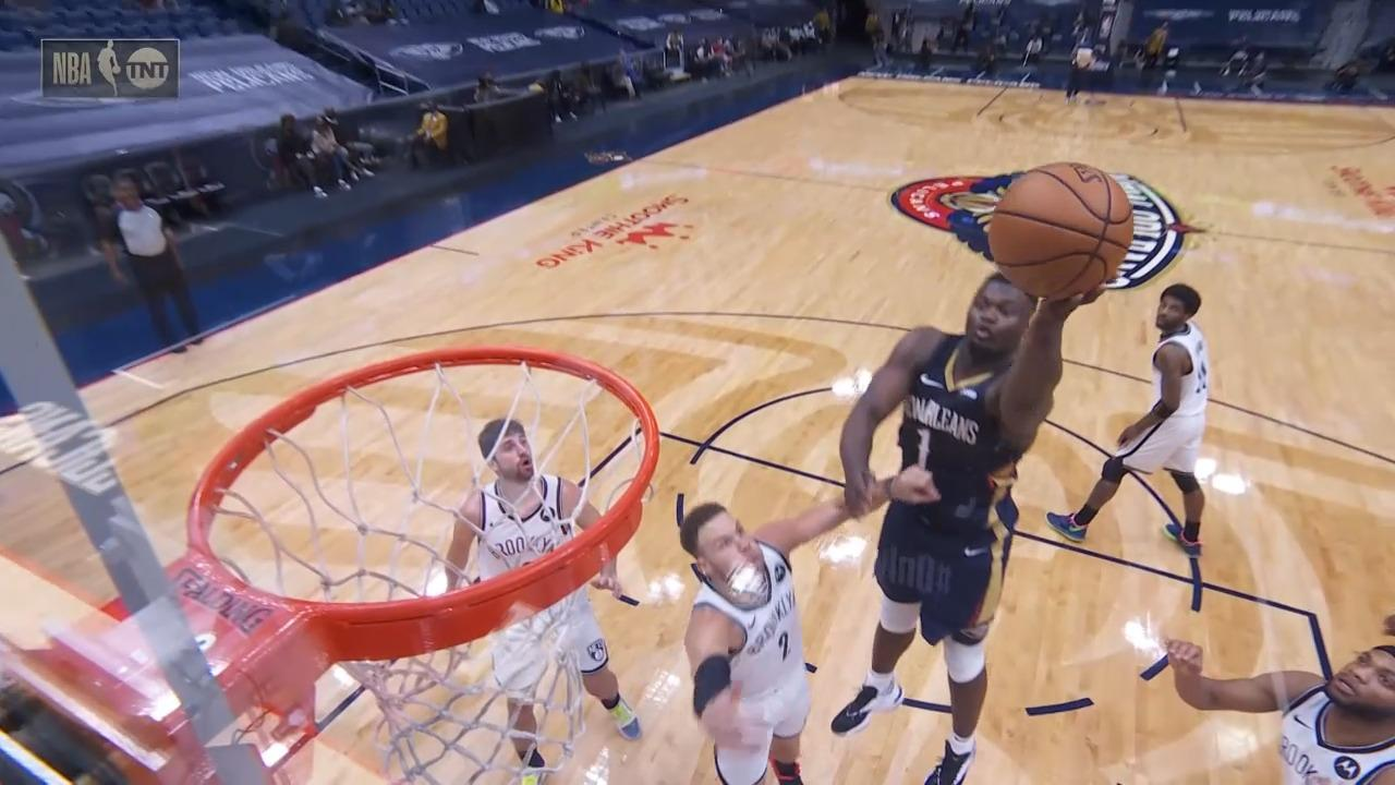 Zion Williamson finger-roll | Pelicans-Nets Highlights