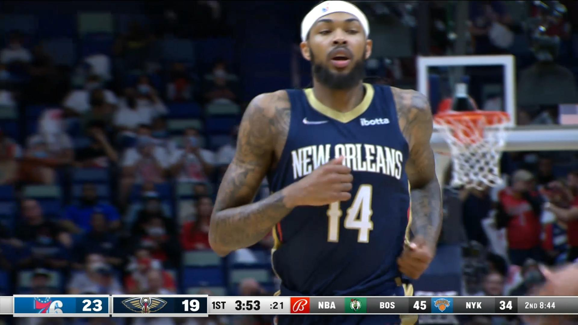 Brandon Ingram BIG BLOCK on one end & dunks on the other   76ers-Pelicans