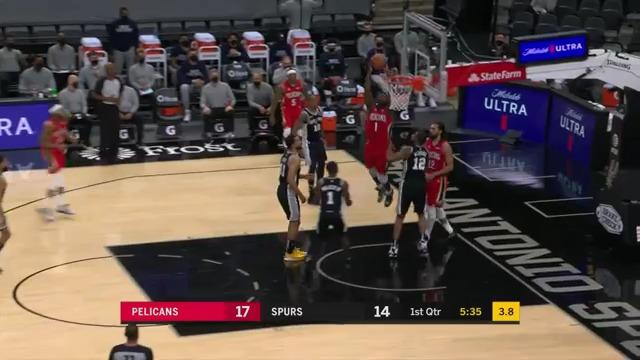 Zion Williamson two-hand slam | Pelicans-Spurs Highlights