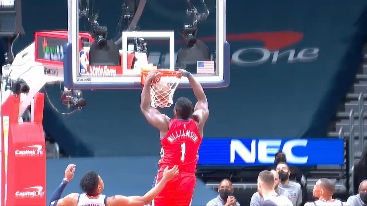 Zion Williamson dunks on the backdoor | Pelicans-Wizards Highlights