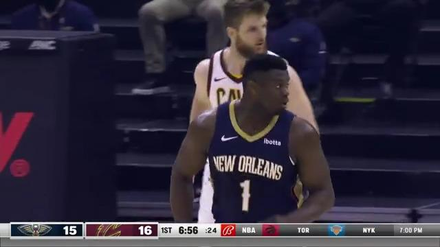 Zion Williamson over the top slam   Pelicans-Cavaliers Highlights