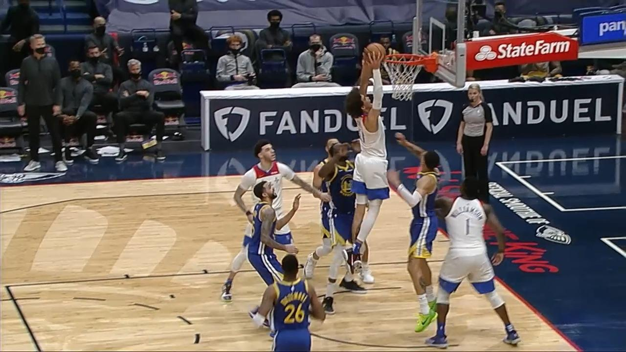 Jaxson Hayes dunks back his own shot | Pelicans-Warriors Highlights