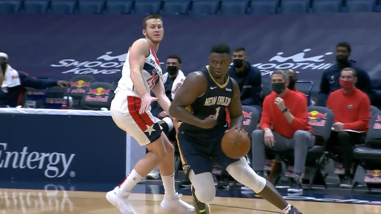 Zion ends the 1st quarter with 3 in a row | Pelicans-Wizards Highlights