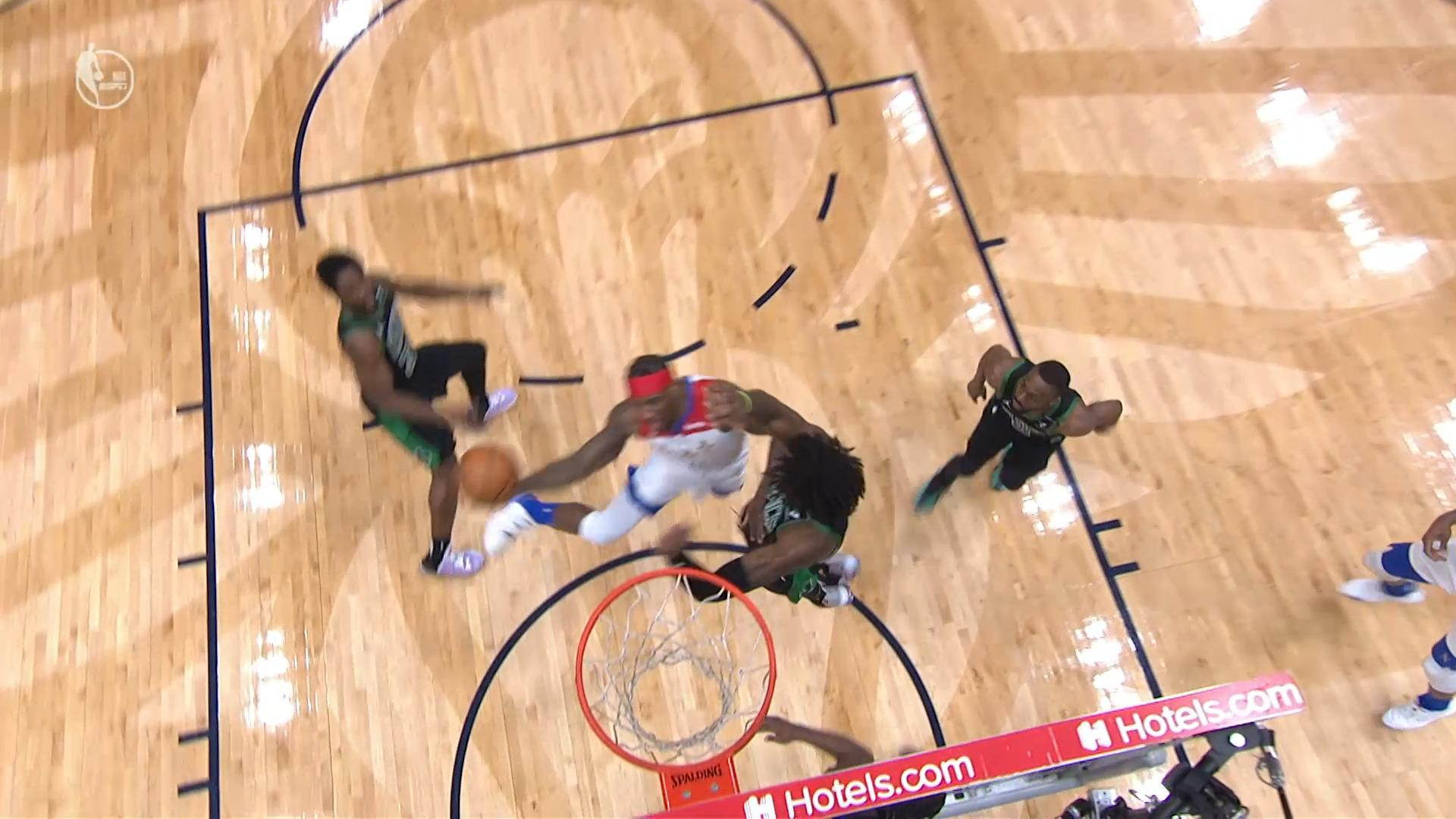 Eric Bledsoe lay-up and-1   Pelicans-Celtics Highlights