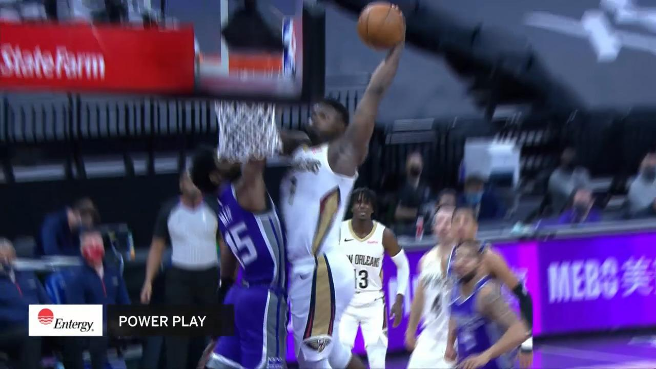 Zion Williamson poster dunk | Pelicans-Kings Highlights