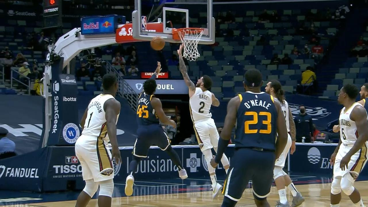 Lonzo Ball blocks Donovan Mitchell | Pelicans-Jazz Highlights