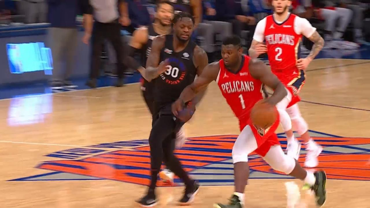 Zion Williams steal and score | Pelicans-Knicks Highlights