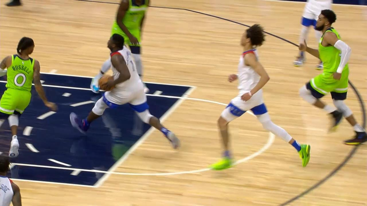 Lonzo Ball steal and dish to Zion Williamson | Pelicans-Timberwolves Highlights